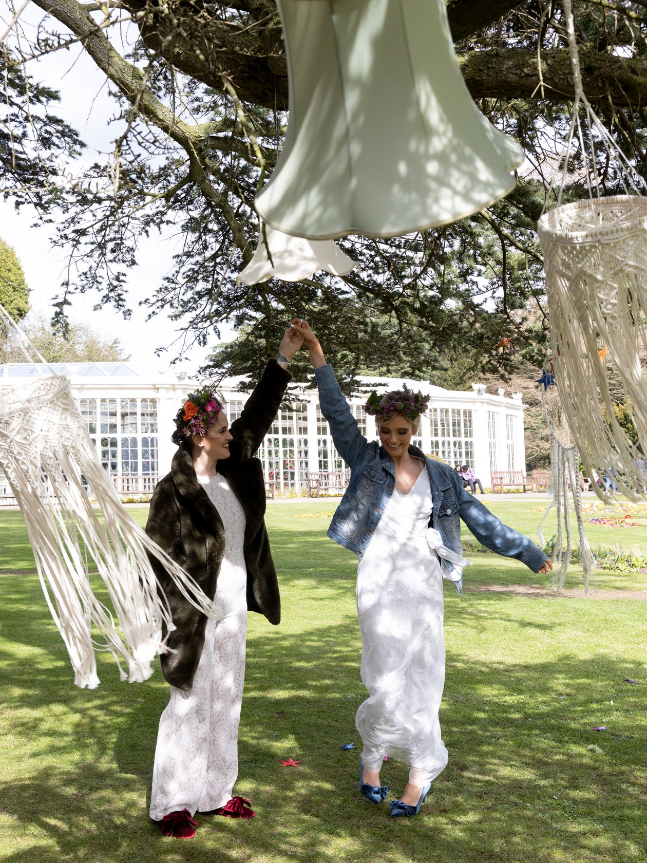 modern boho wedding, brides dancing, bohemian wedding decor, boho micro wedding