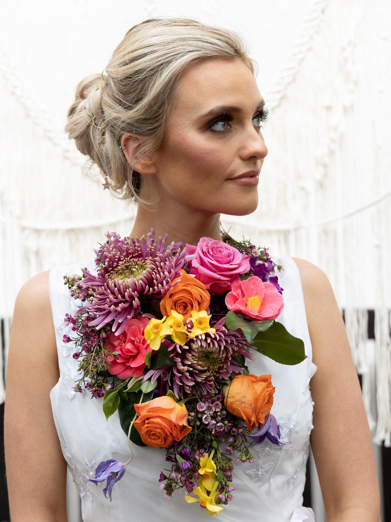 floral bridal accessories, unique bridalwear, unique wedding flowers, colourful wedding flowers