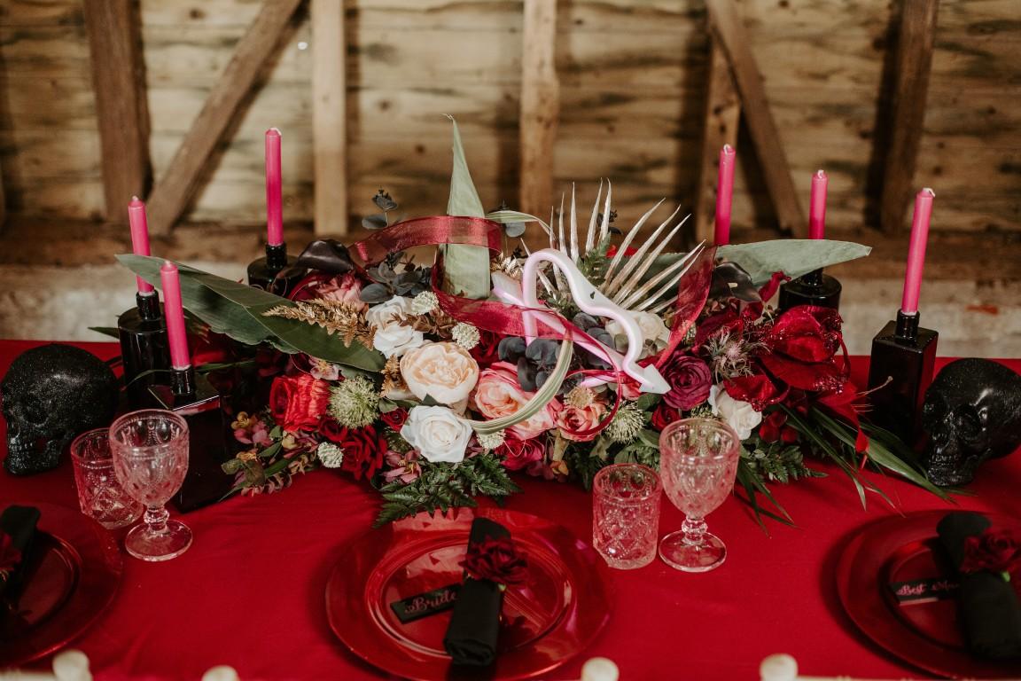 rock and roll wedding - edgy wedding inspiration - gothic wedding table - red and black wedding styling - rocker wedding
