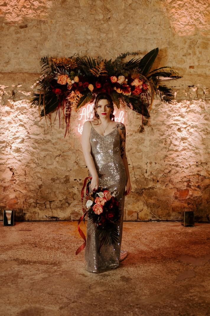 rock and roll wedding - edgy wedding inspiration - sequin wedding dress - sparkly wedding dress - alternative wedding dress - unique wedding dress