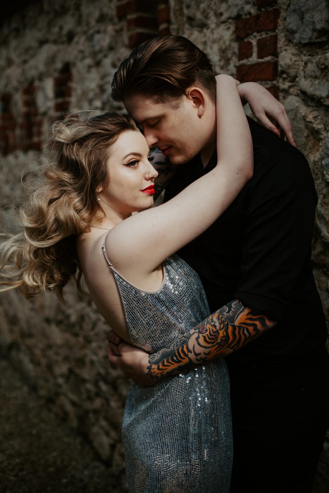 rock and roll wedding - edgy wedding inspiration - sparkly wedding dress - sequin wedding dress - edgy bride