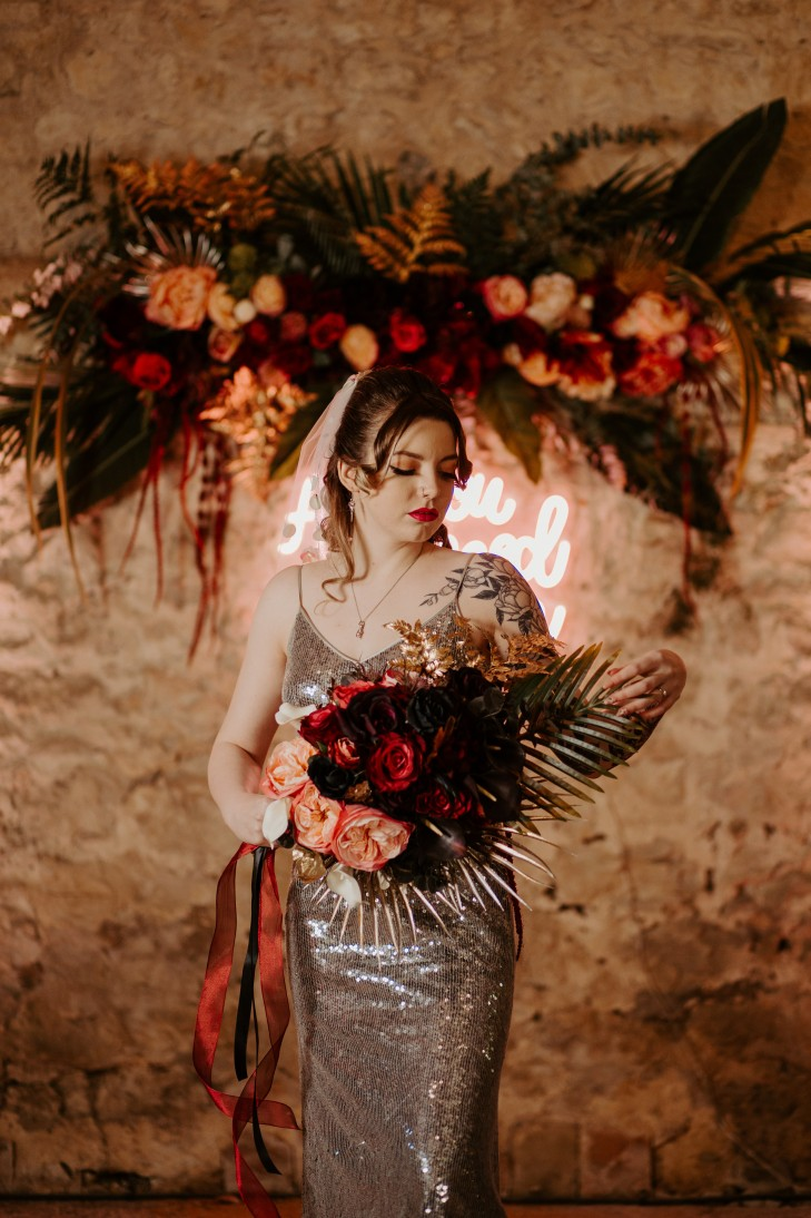 rock and roll wedding - edgy wedding inspiration - sequin wedding dress - alternative wedding flowers