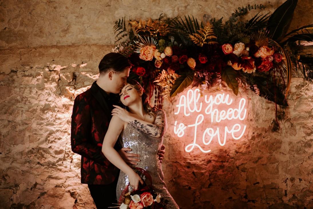 rock and roll wedding - edgy wedding inspiration - all you need is love neon sign - wedding neon sign - alternative bridalwear
