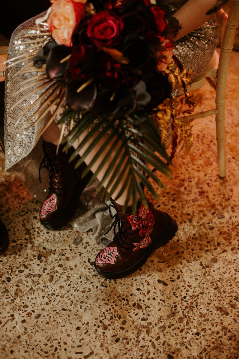 rock and roll wedding - edgy wedding inspiration - hand painted dr martens - alternative wedding flowers