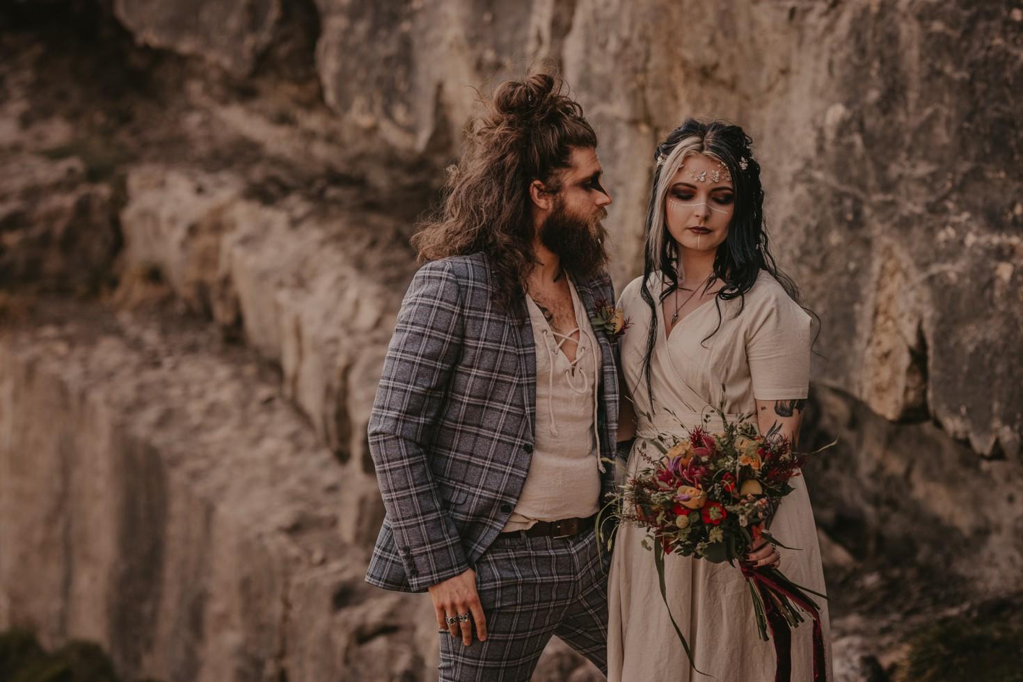 viking wedding - unique wedding wear - bohemian wedding wear - wedding wildflowers - unique wedding makeup