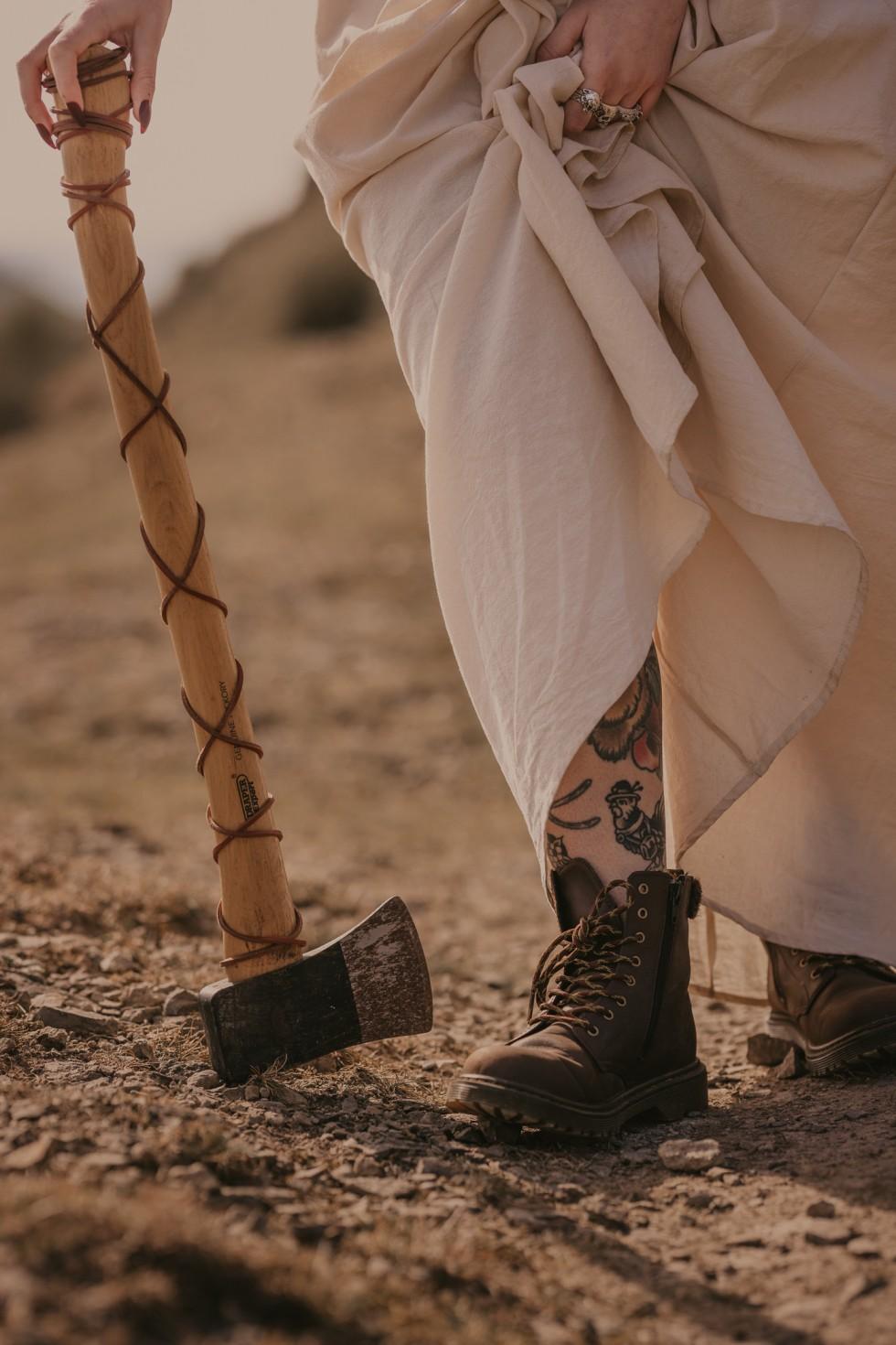 bride with axe