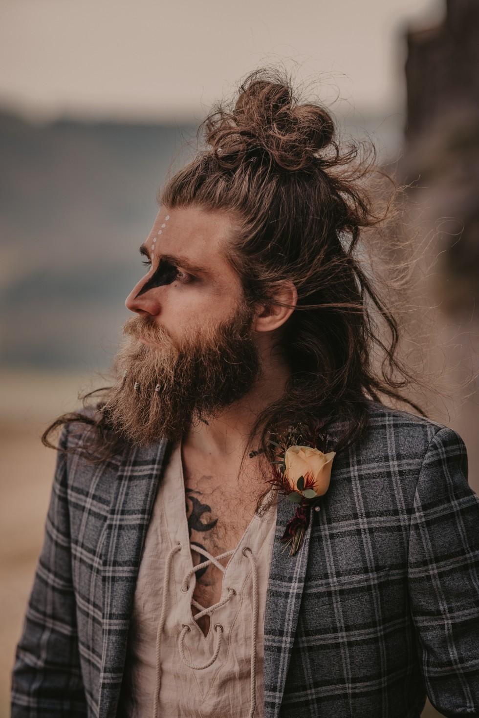 viking groom with tribal makeup - grooms makeup ideas - unique grooms wear - alternative grooms look