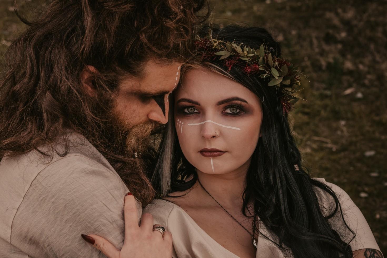 viking wedding - wild wedding - alternative wedding - unique wedding makeup - tribal bridal look