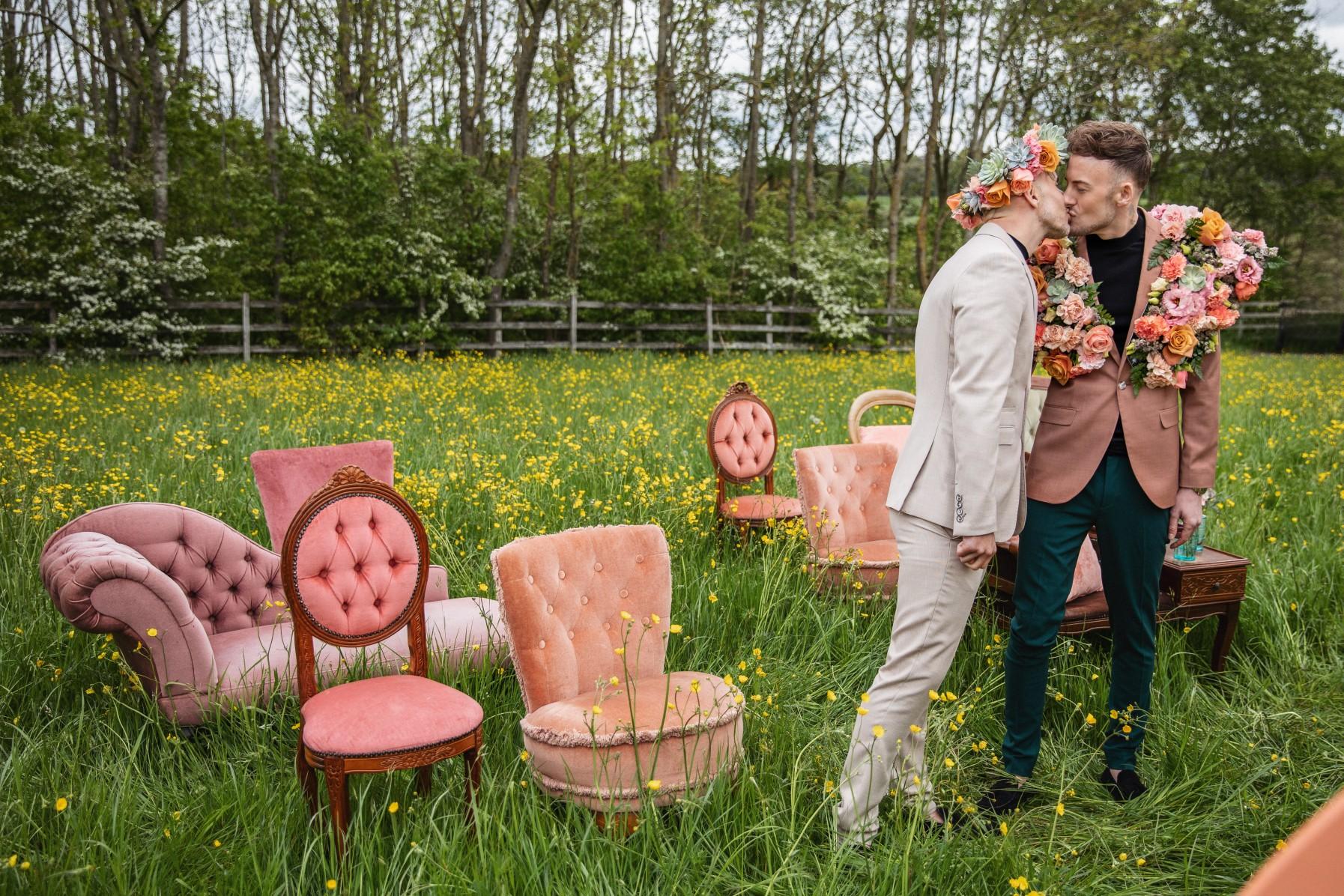 bohemian gay wedding - vintage wedding props - unique wedding ceremony - unique wedding flowers -