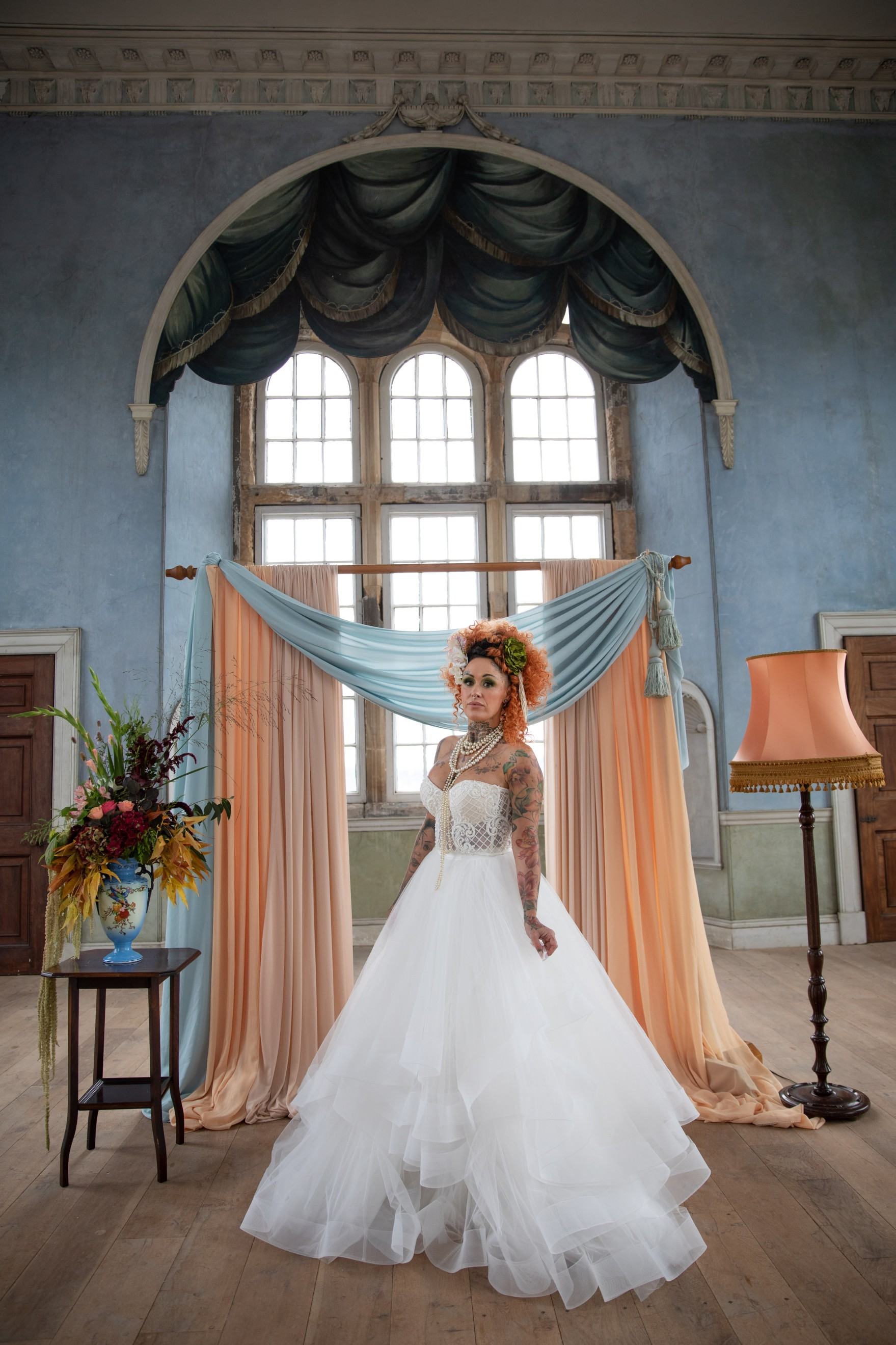 unique pastel wedding - marie antionette wedding - unique bridal look - unique bridal style - themed wedding - historic wedding venue
