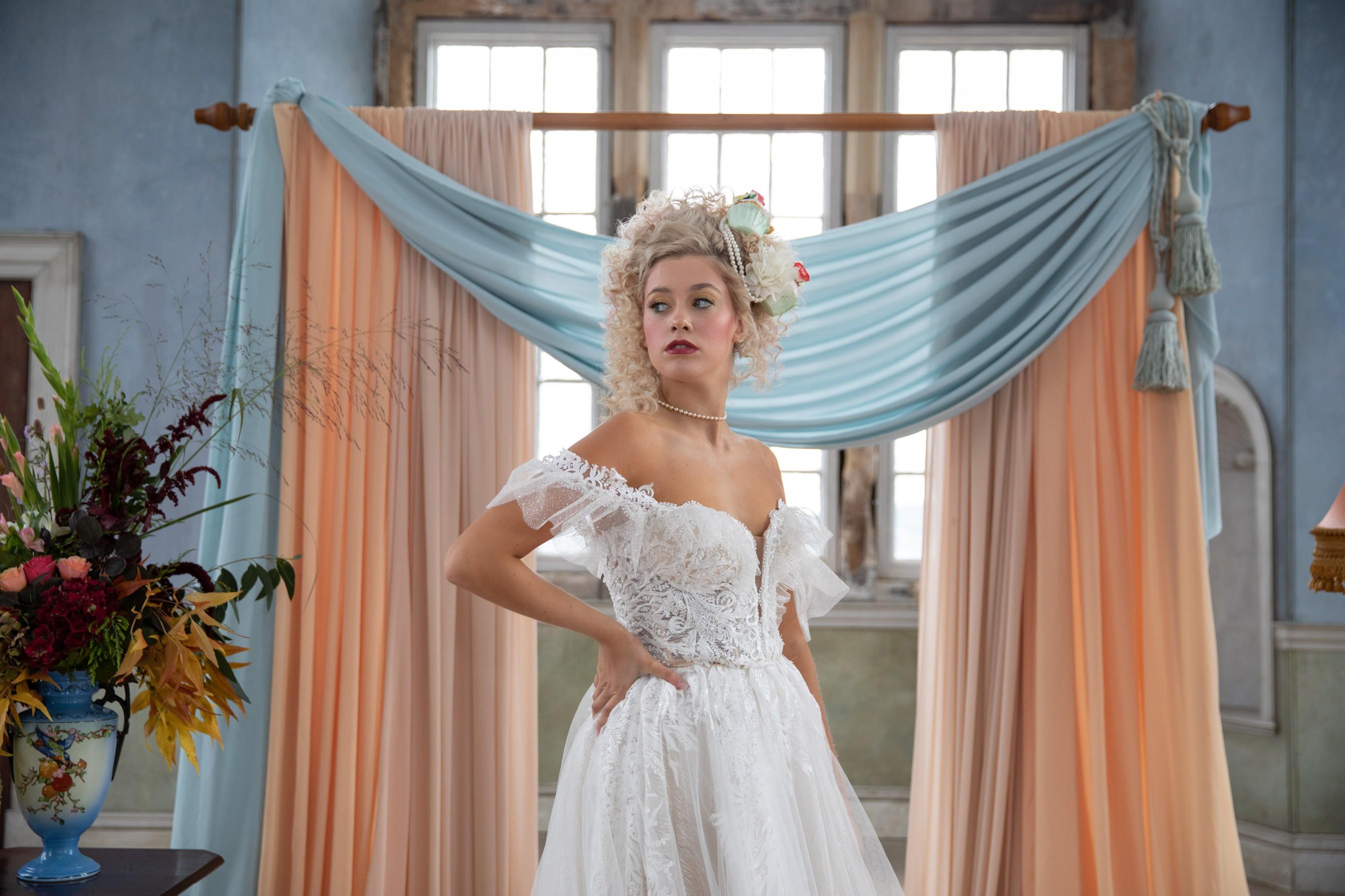 quirky pastel wedding - regency wedding - unique wedding dress - unique wedding hair - unique bridal look
