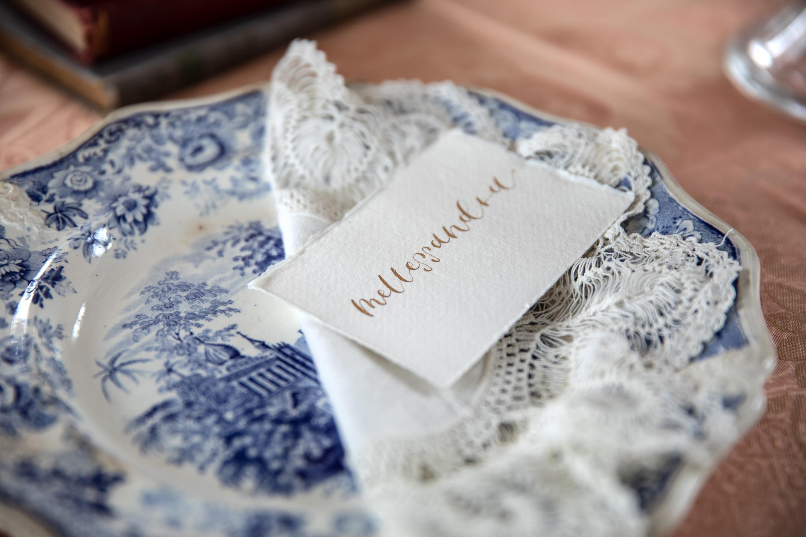 vintage wedding stationery - wedding calligraphy - vintage wedding place name
