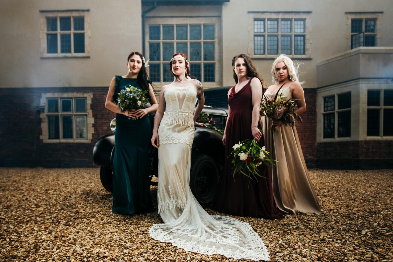 peaky blinders wedding - vintage wedding - 1920s wedding - themed wedding inspiration - bridesmaids photo ideas - dramatic wedding photos