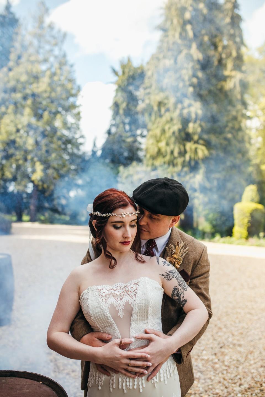 peaky blinders wedding - vintage wedding - 1920s wedding - themed wedding inspiration - vintage wedding dress - vintage grooms wear