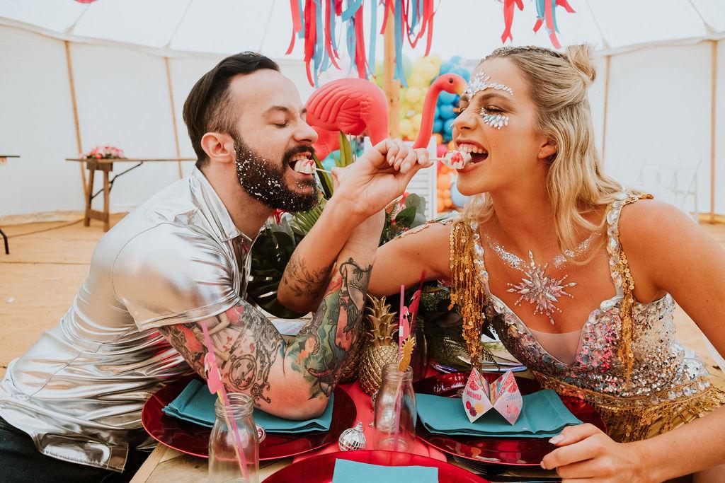 sparkly festival wedding - fun festival wedding - wedding cake pops - tropical wedding styling - festival wedding wear - festival bride