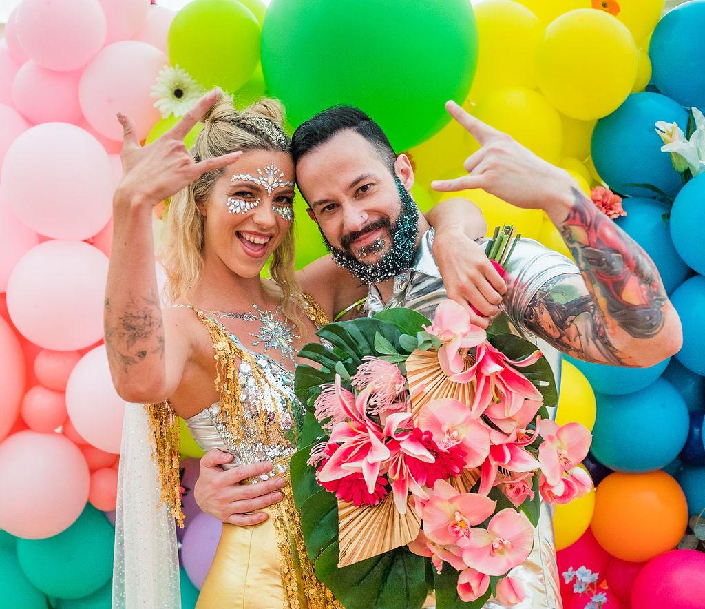 sparkly festival wedding - fun wedding photos - colourful wedding- rainbow wedding - festival wedding ideas