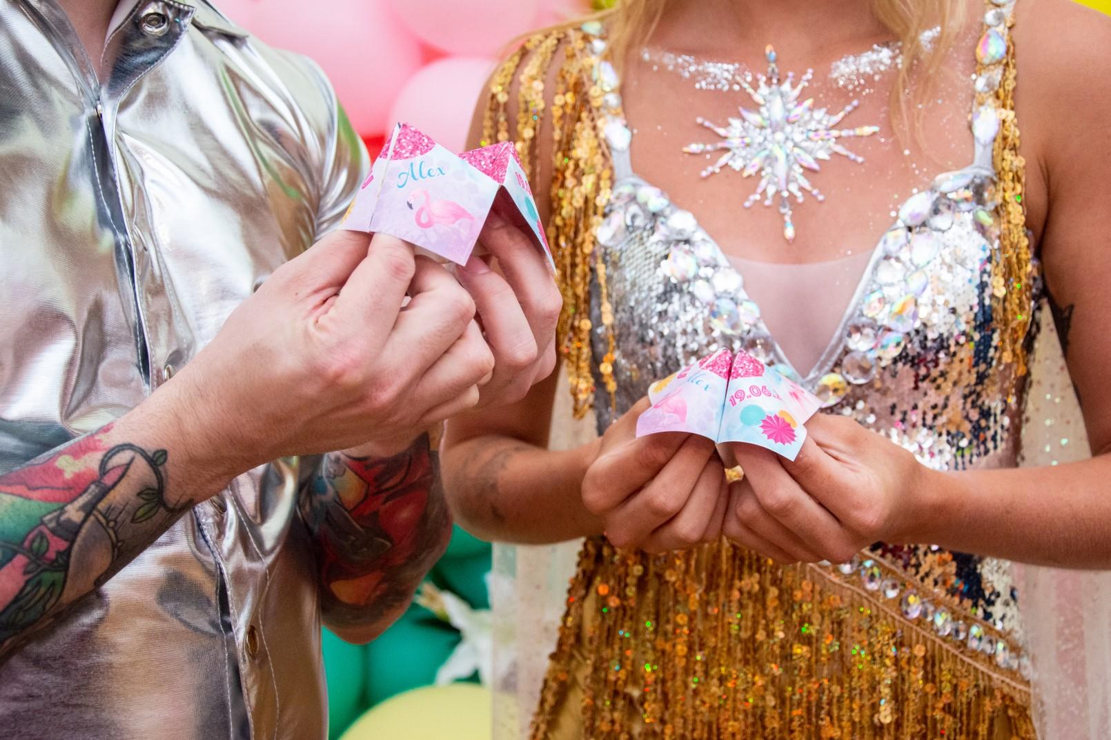 sparkly festival wedding - festival wedding wear - unique wedding stationery - wedding stationery ideas - festival wedding stationery