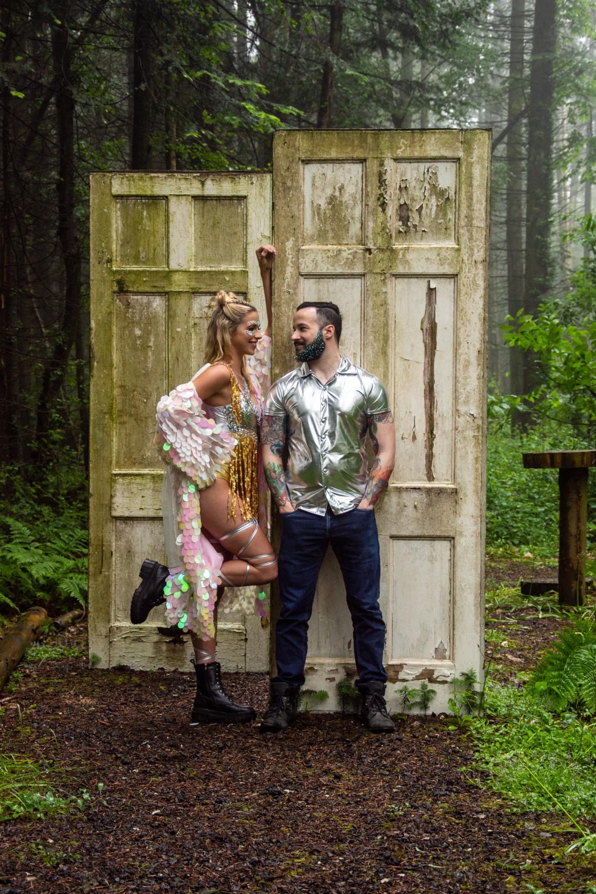 sparkly festival wedding - woodland wedding - festival wedding wear - unique wedding wear - festival wedding
