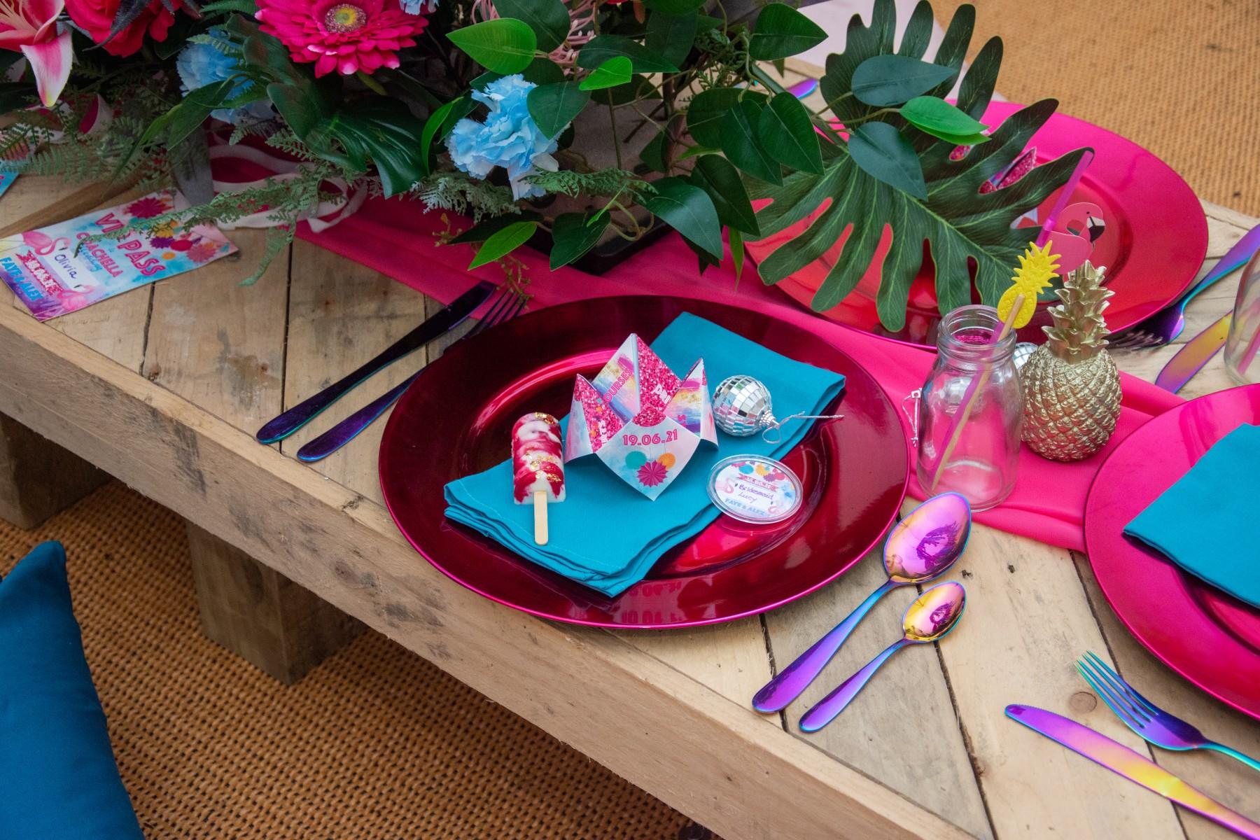 colourful festival wedding - tropical wedding styling - rainbow wedding table - fun wedding styling
