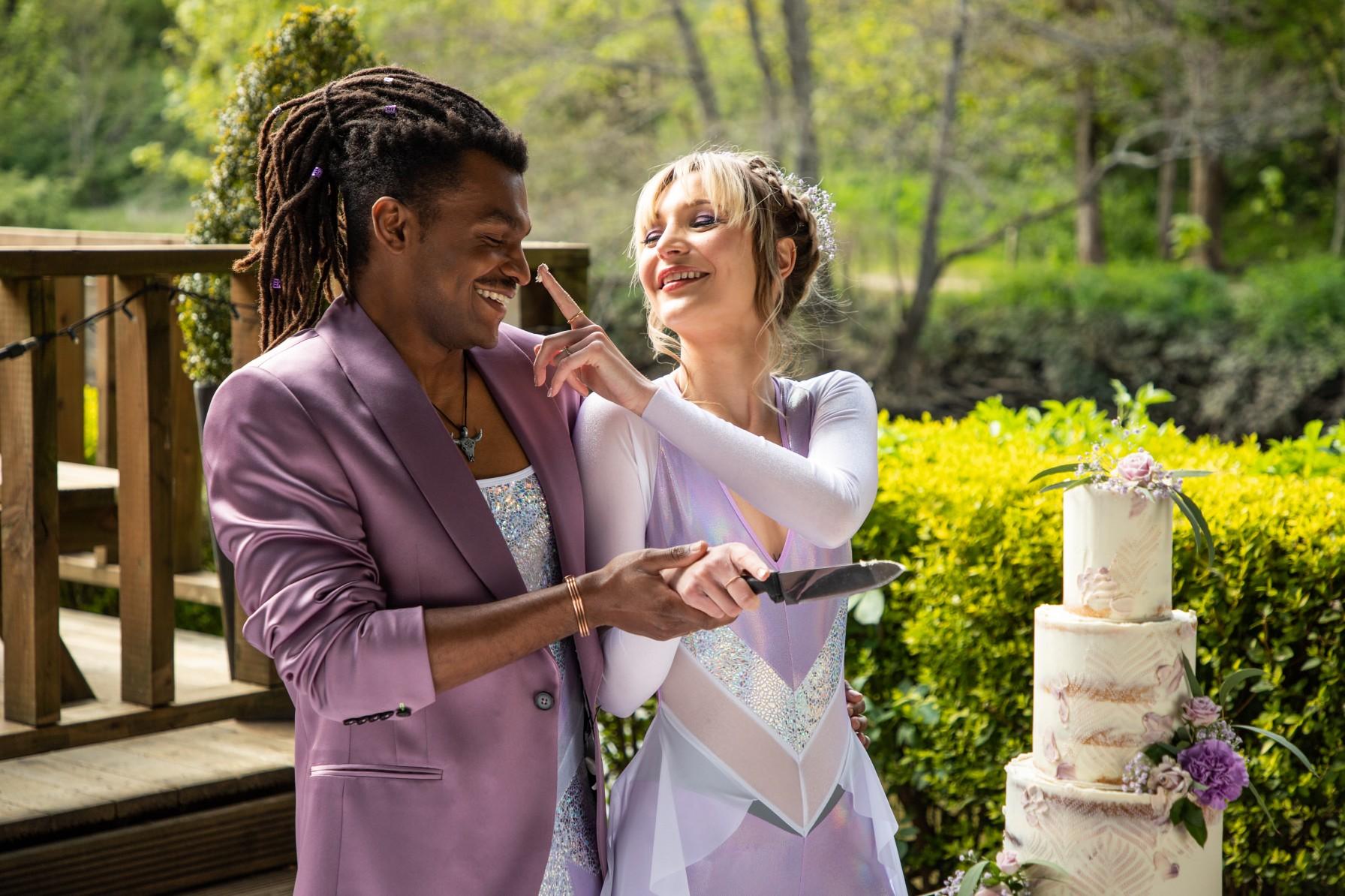 modern festival wedding - unique wedding wear - wedding jumpsuit - wedding catsuit - festival bride - unique wedding wear - bohemian wedding cake - purple grooms blazer