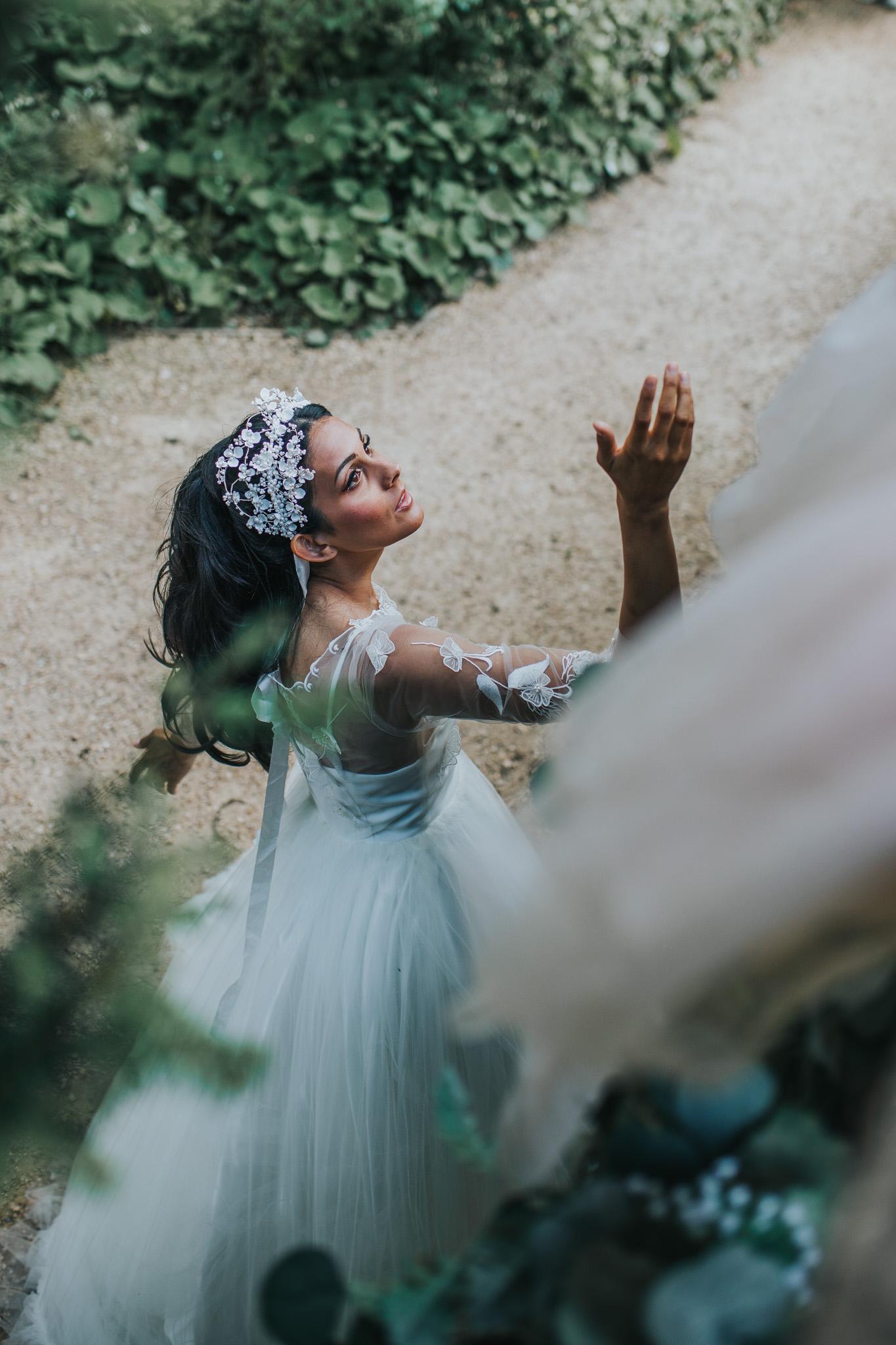fairytale wedding dress - unique wedding dress - unique bridal wear - unique bridal headdress - artistic bridal photography