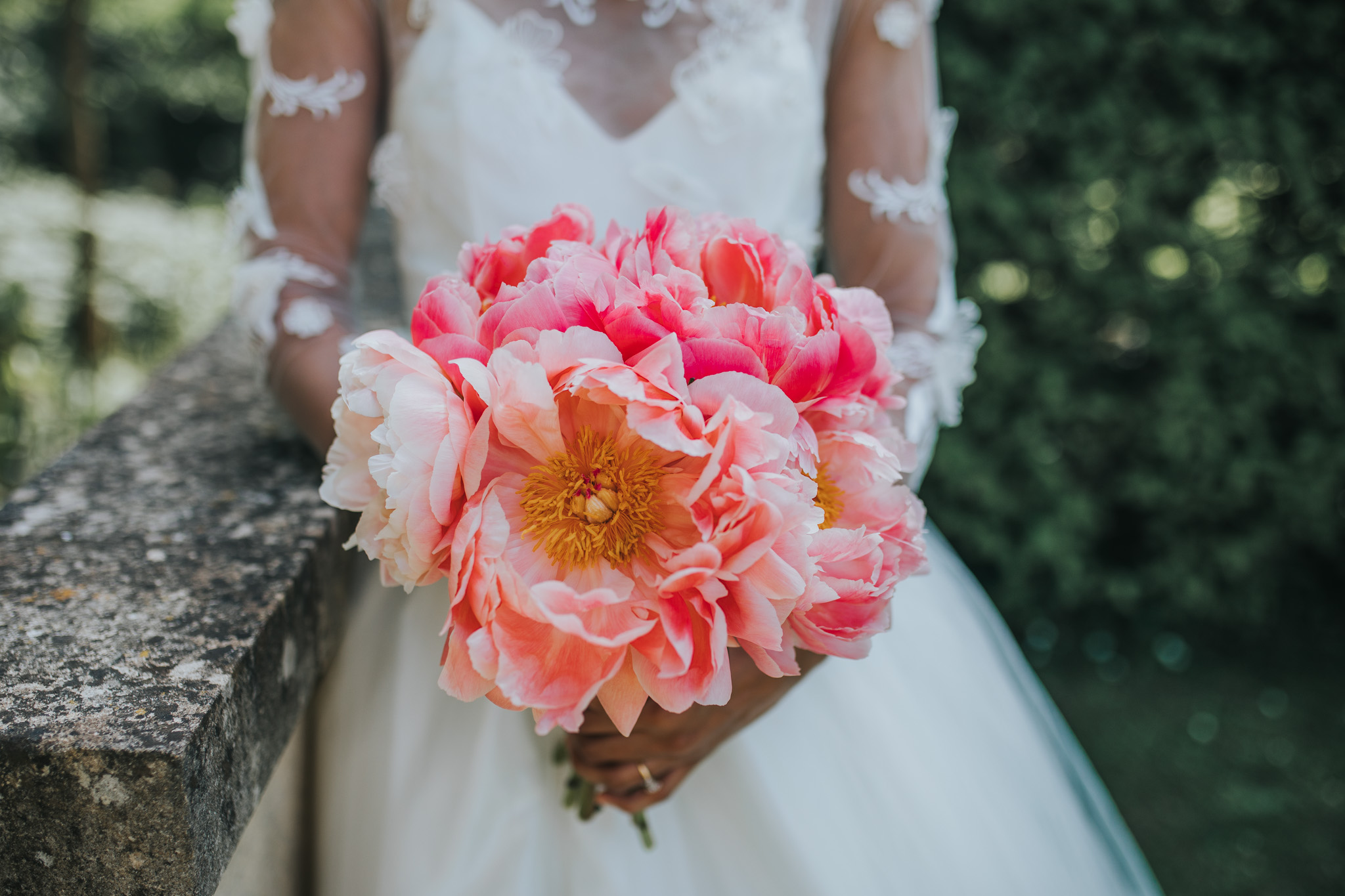 pink wedding bouquet - pink bridal flowers - unique wedding bouquet
