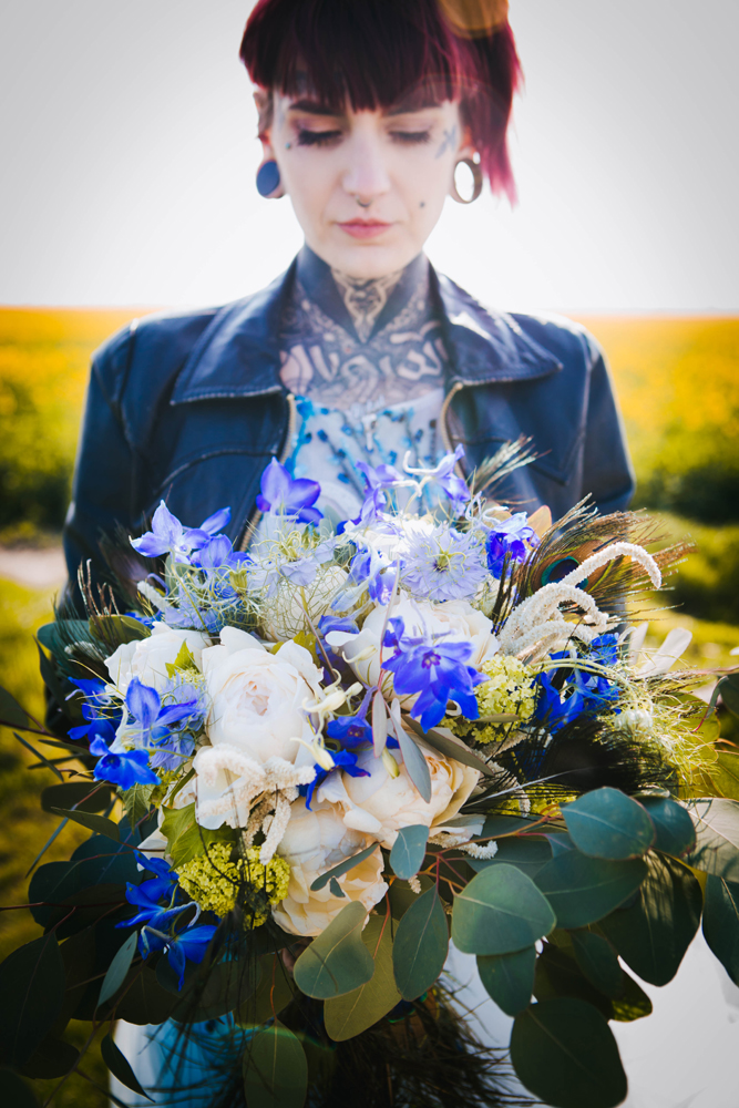 alternative bride - alternative wedding bouquet - blue wedding flowers