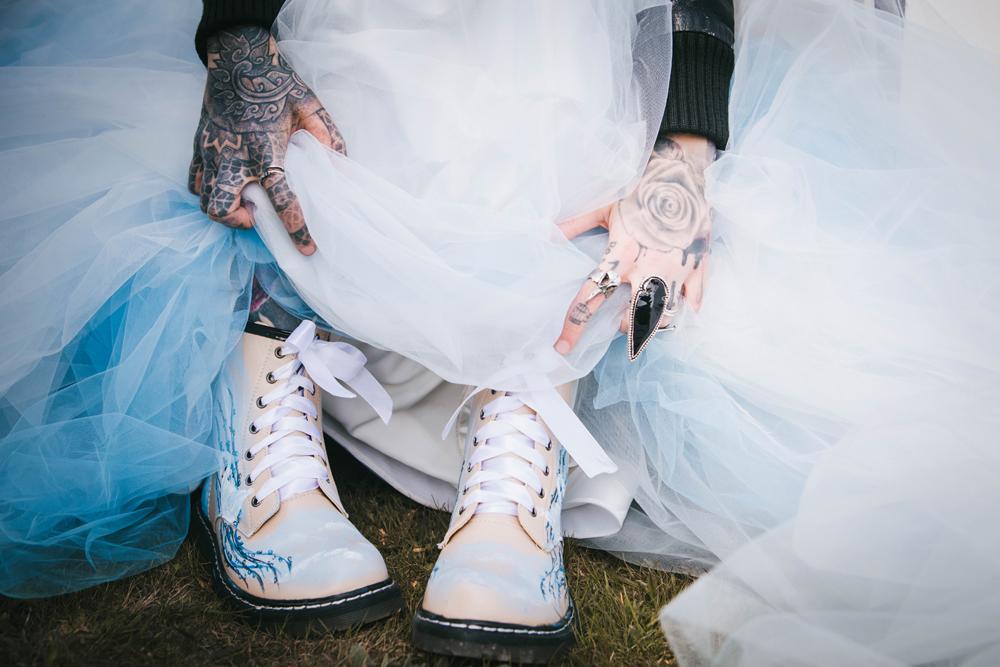 wedding hand painted dr martens - bridal shoes - alternative bridal wear - bespoke wedding shoes