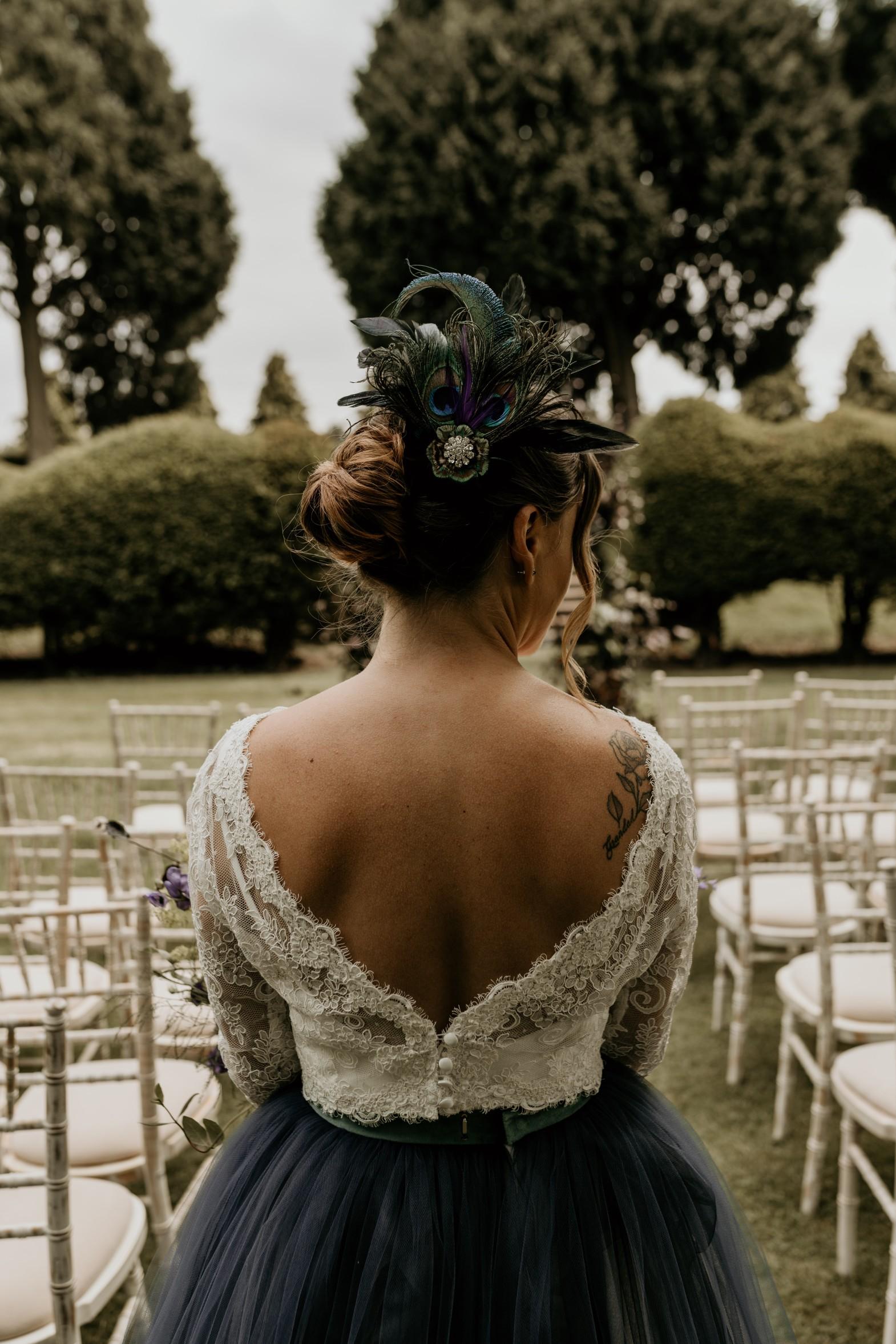 unique wedding headdress - peacock wedding headdress - peacock bridal headpiece