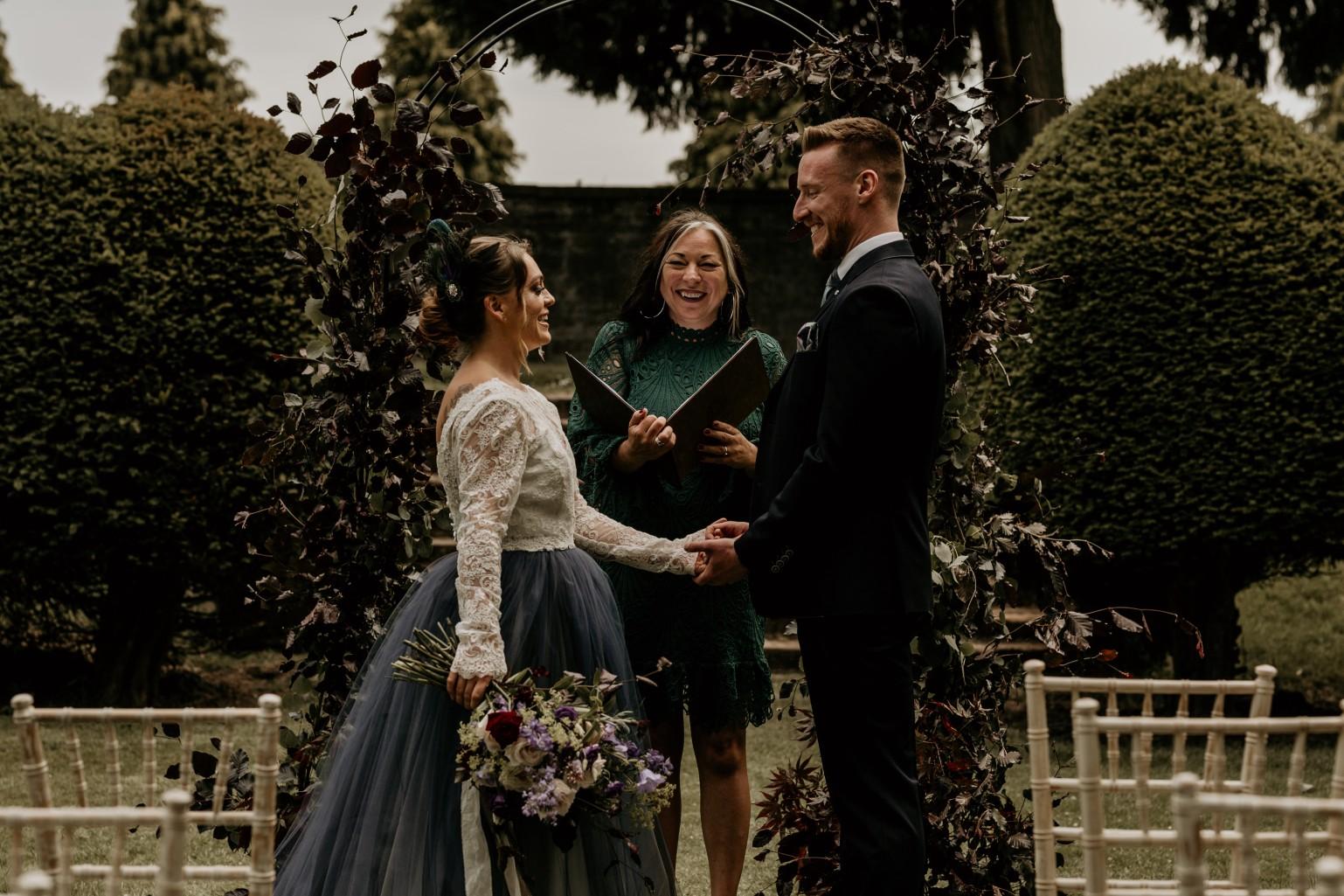 country garden wedding at newstead abbey - unique wedding ceremony - celebrant wedding ceremony - bohemian wedding ceremony