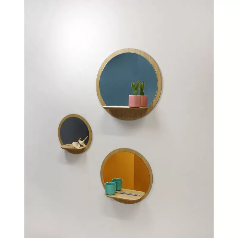 miroir rond avec tablette en bois grand modele