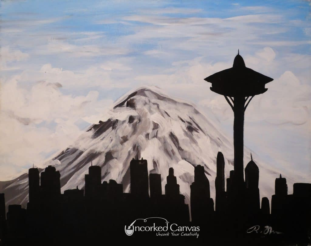 Paint the Seattle Skyline with Rainier in background