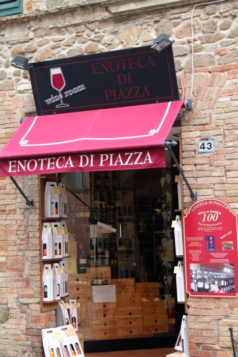 One of many enotecas in centro Montalcino that freely pours Montalcino's famous Brunello!