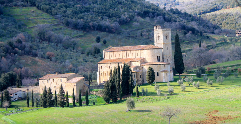 Gregorian monks chant daily at Abbadia di S'Antimo.