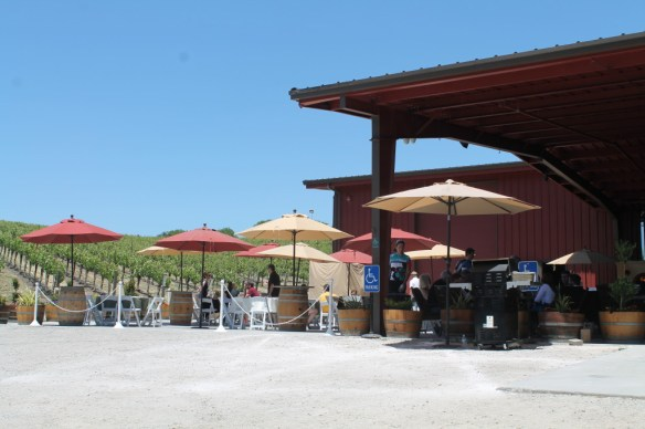 Relax under the water misters on the huge outside patio at Opolo Vineyards