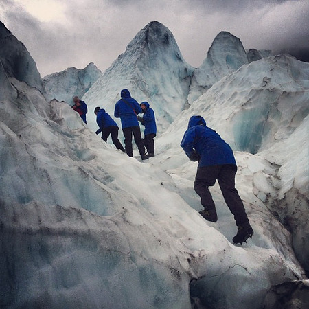 Gettin' up on that glacier, Franz Josef, New Zealand