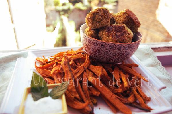 frites et boulettes lentilles