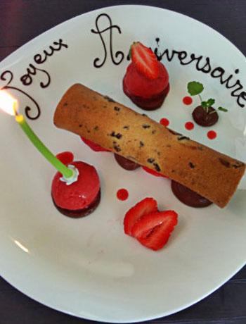 dessert anniversaire à la table de Florensac