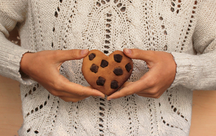 Cookies véganes en forme de coeur