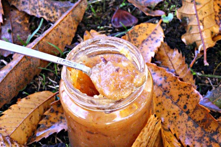 confiture de pommes et épices réduite en sucre