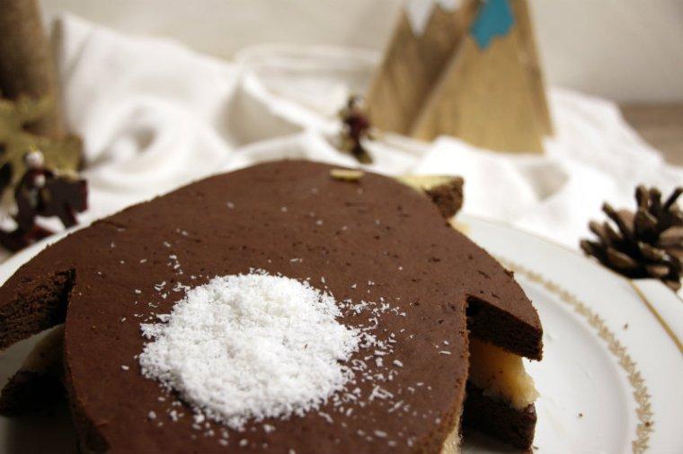 zoom sur la noix de coco sur un pingouin en chocolat végétalien
