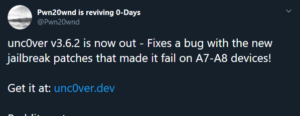 Unc0ver is a semi-tethered jailbreak, which is similar to an untethered jailbreak, it gives the ability to reboot your iOS device on its own. On each boot, the iOS device startup sequence is unmodified and it boots into its original, non-jailbroken state.
