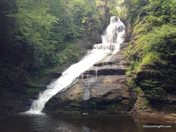 Dingmans Waterfall located in Delaware Water Gap National Recreation Area in the Poconos Region of Pennsylvania.