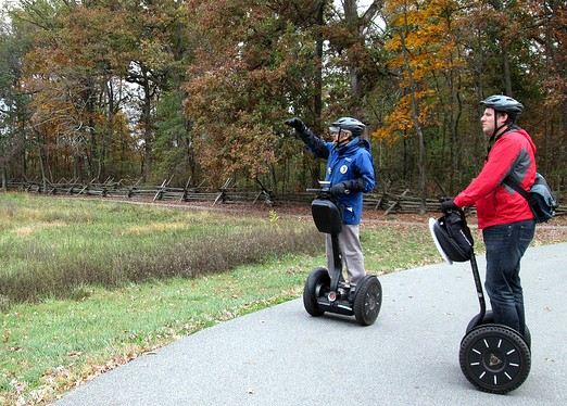 Listening to my guide on my Segway Tours of Gettysburg Battlefield.