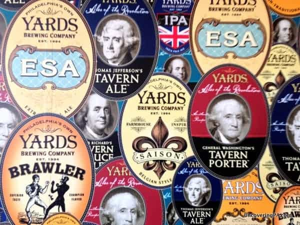 Yards Brewery Labels in the Yards Brewery Tasting Room.
