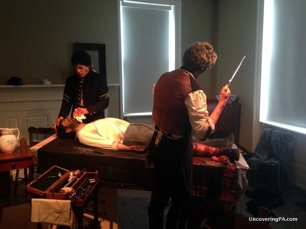 A life-like diorama depicting the medical practices used during the Civil War.