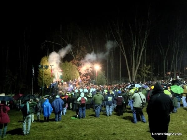 The crowd at Gobbler's Knob was huge several hours before Punxsutawney Phil came out.