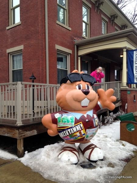 A Punxsutawney Phil statue outside of the Punxsutawney Historical Society Museum.