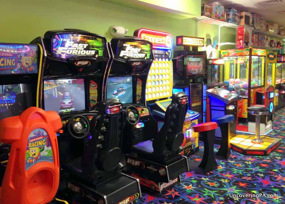 Some of the many arcade games at Fun Central in Clearfield County, Pennsylvania.
