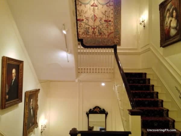 The main staircase in the Rosenbach Museum and Library.